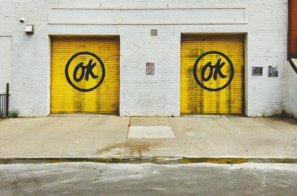 two yellow roller shutters
