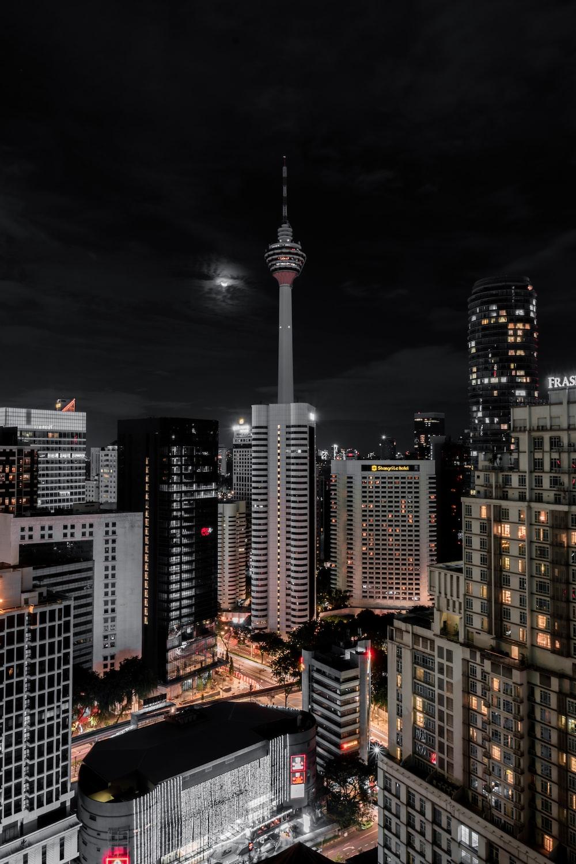 buildings at night