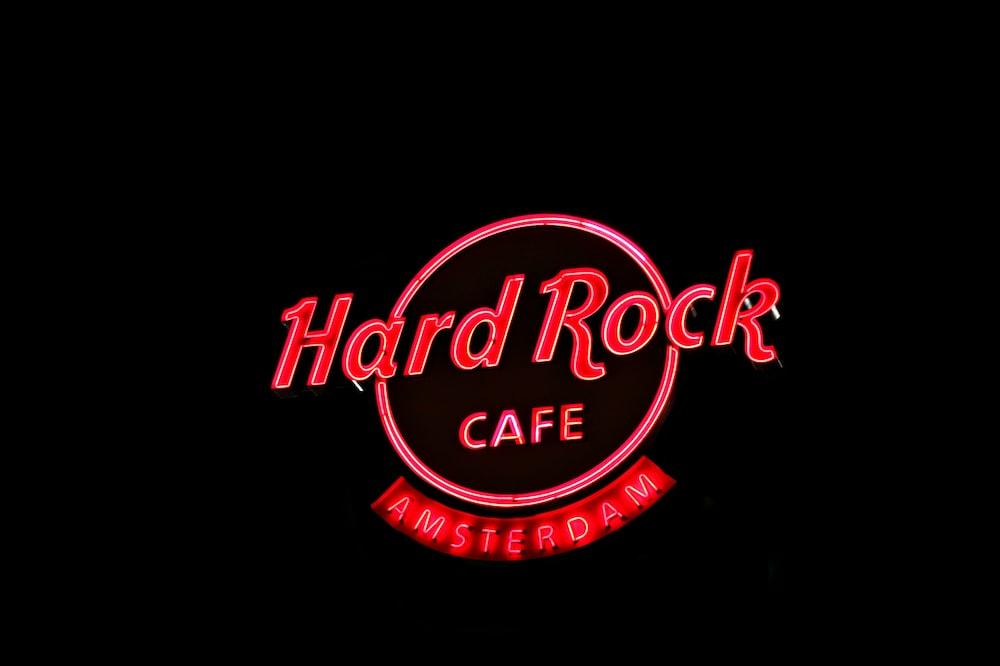 red Hard Rock Cafe Amsterdam LED signage