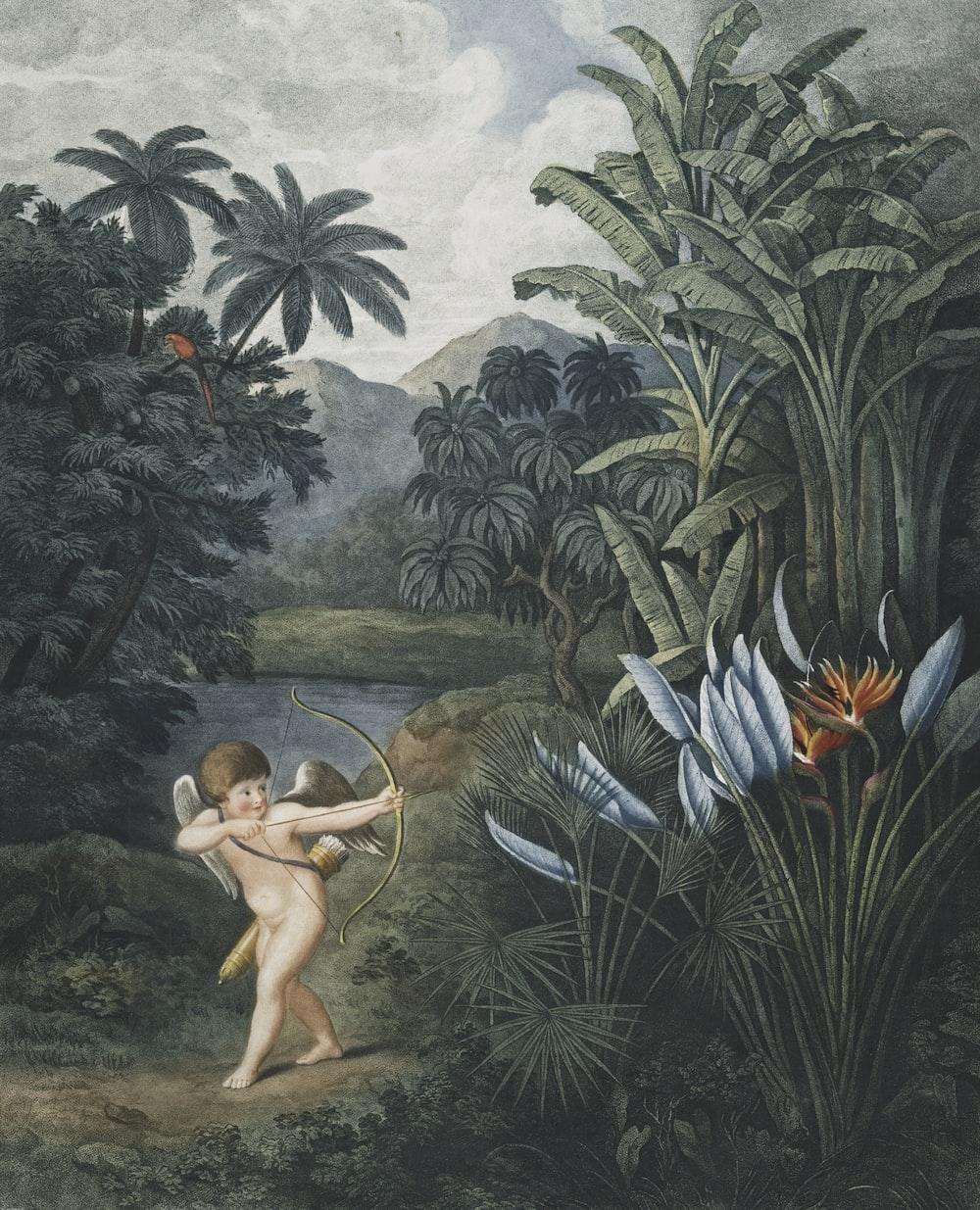 cherub holding bow and arrow near orange petaled flower painting