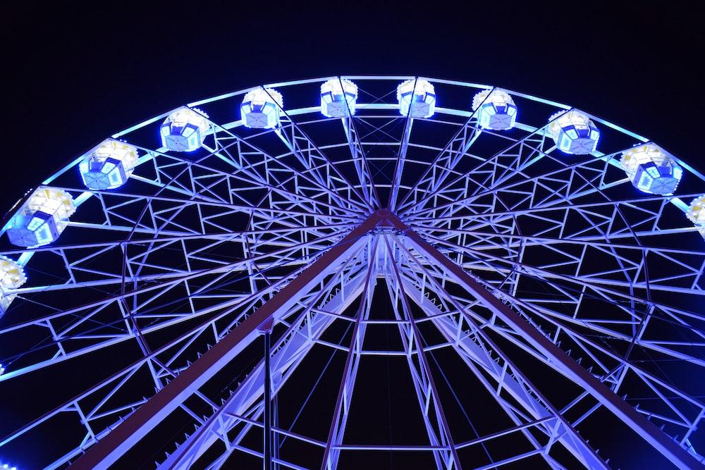 white Ferris Wheel with lights