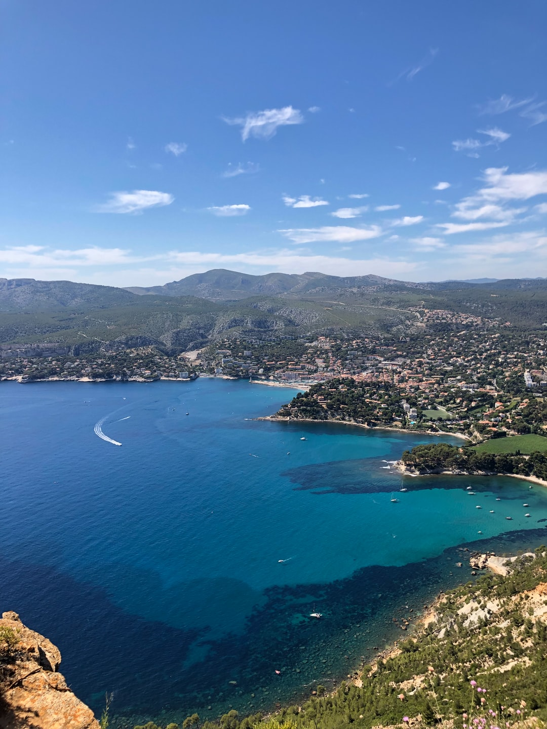 A view from above onto the beach of Cassis in Provence, France. I was standing up on the dramatic rock of Cap Canaille looking to the Northwest.