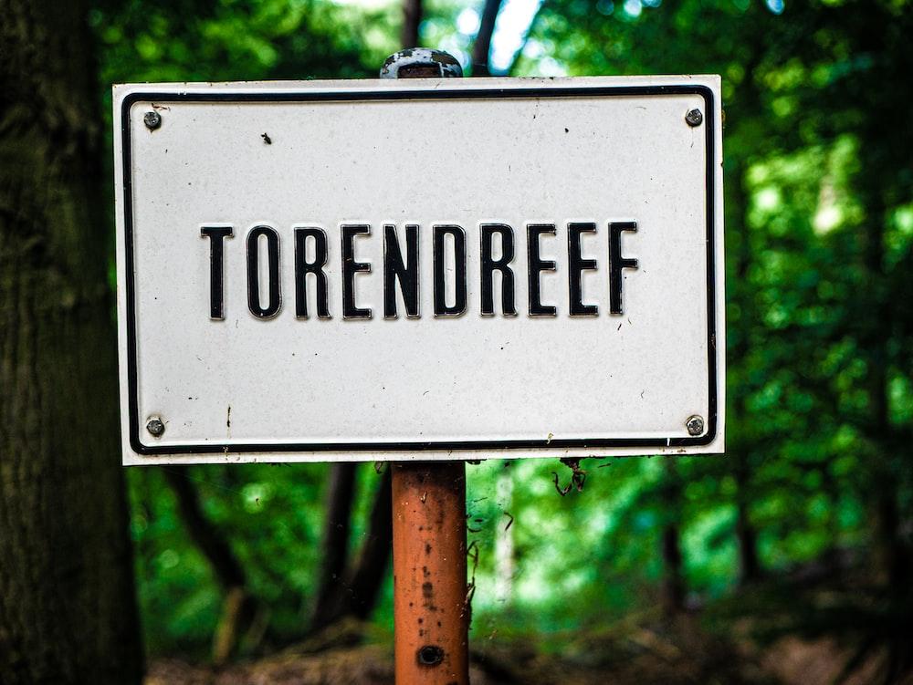 white Torendreef metal signage