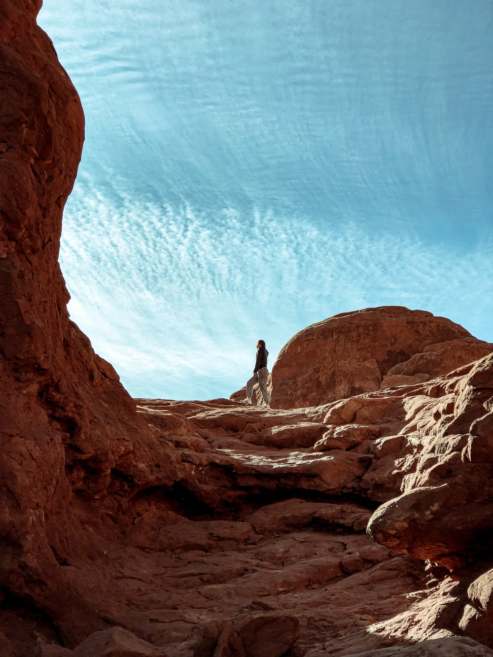 person standing on Grand Canyon under blue and white sky