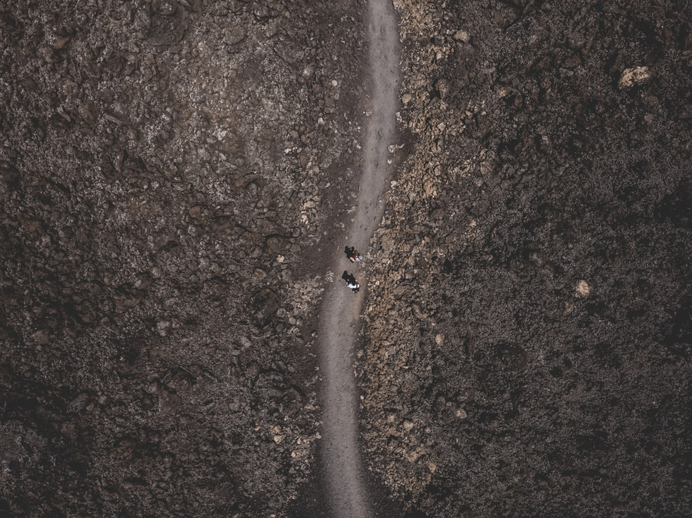 bird's eye photography of people walking on dirty road during dyatime