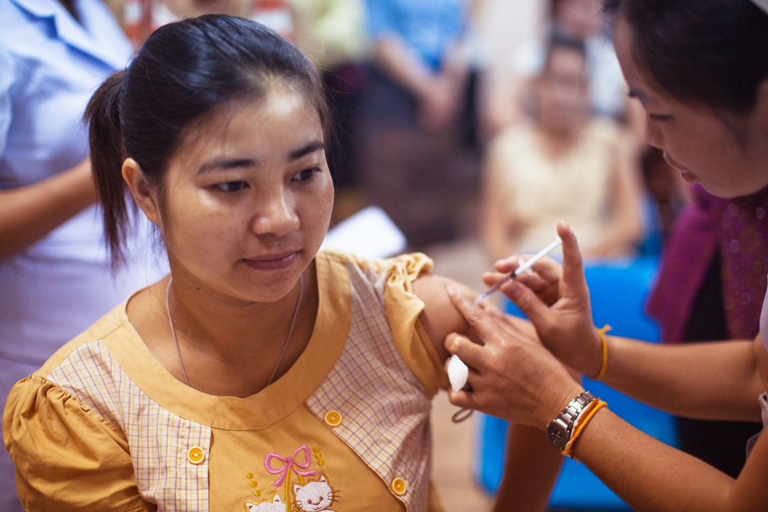 Pregnant woman receiving an influenza vaccination at the Maternal and Child Hospital in Vientiane, Laos