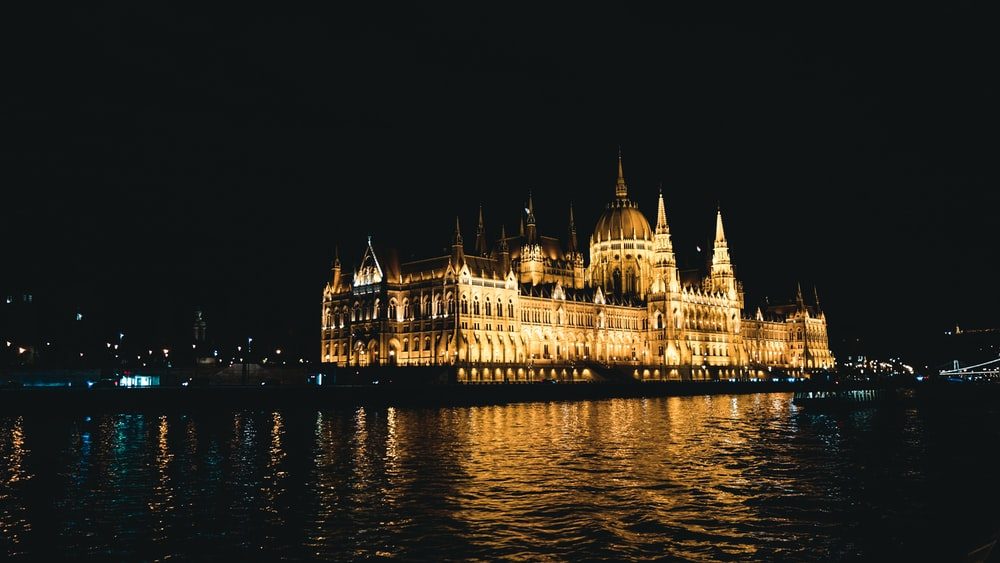 gold castle with lights