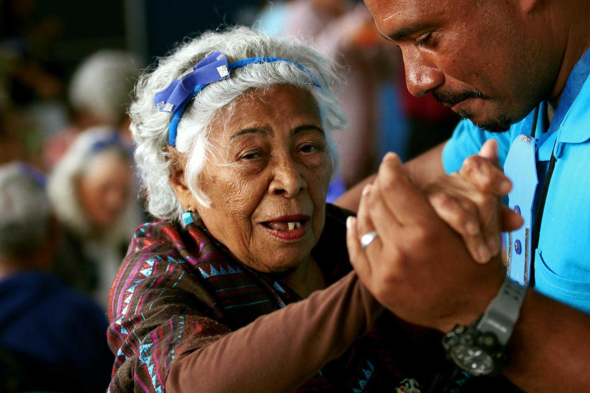 Elderly woman dancing