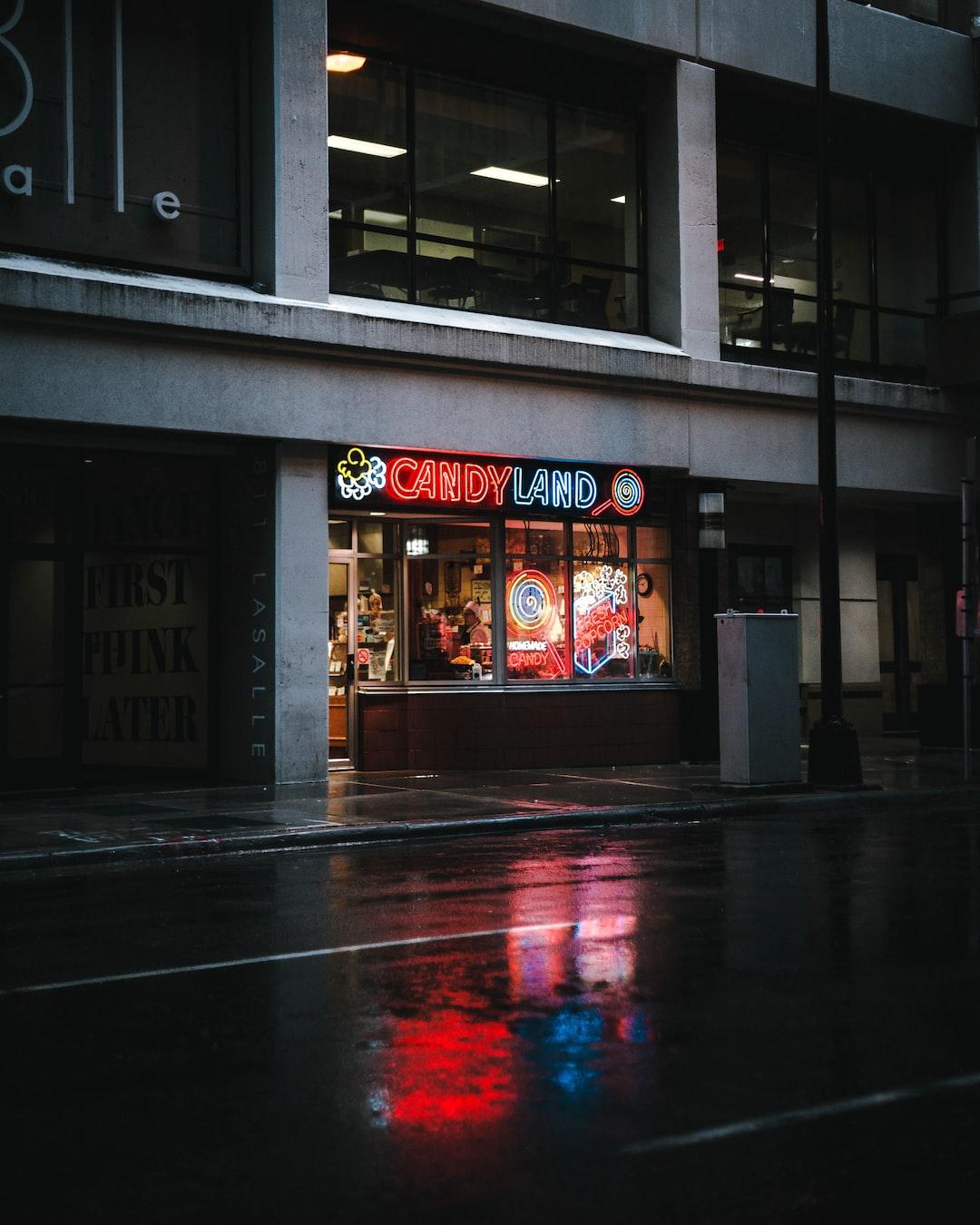 rainy shot of candyland store