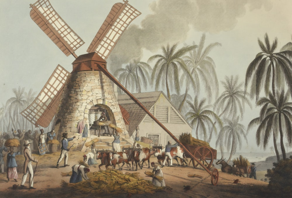 people working on windmill painting