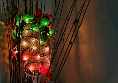red, brown, and green bell christmas decor jingle bells teams background