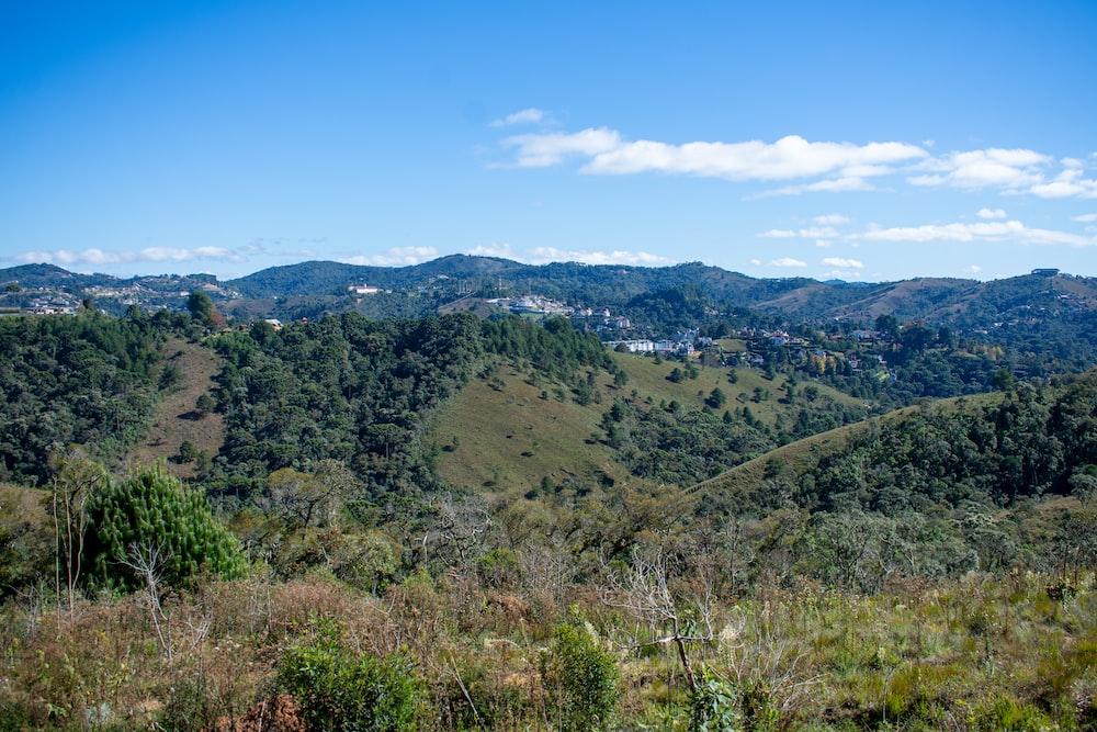 green mountain grass field