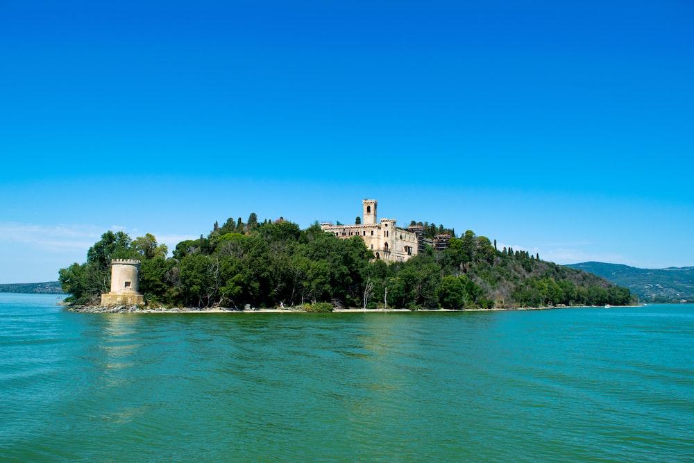 island under blue sky