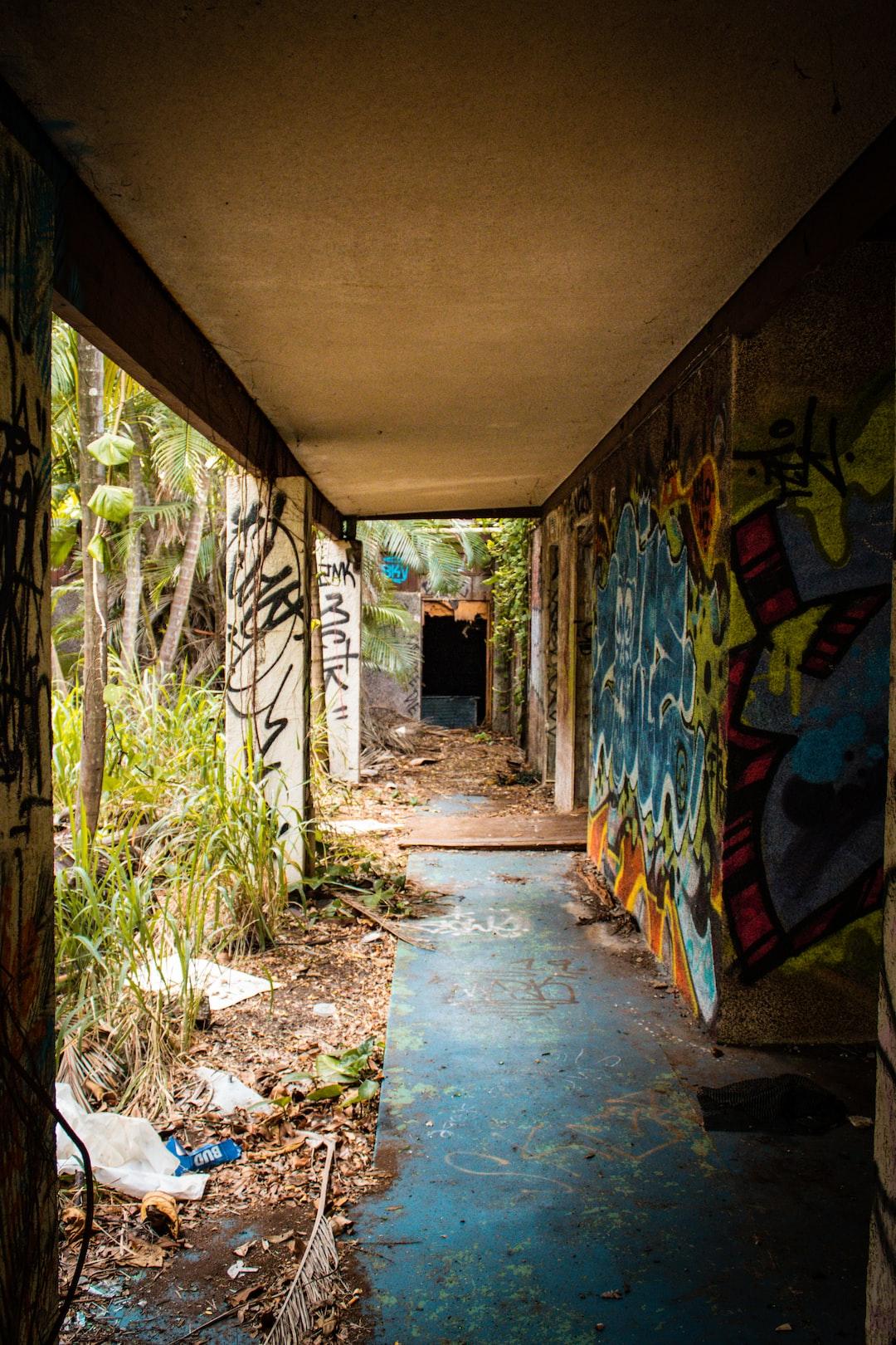 An abandoned resort at Punalu'u Black Sand Beach