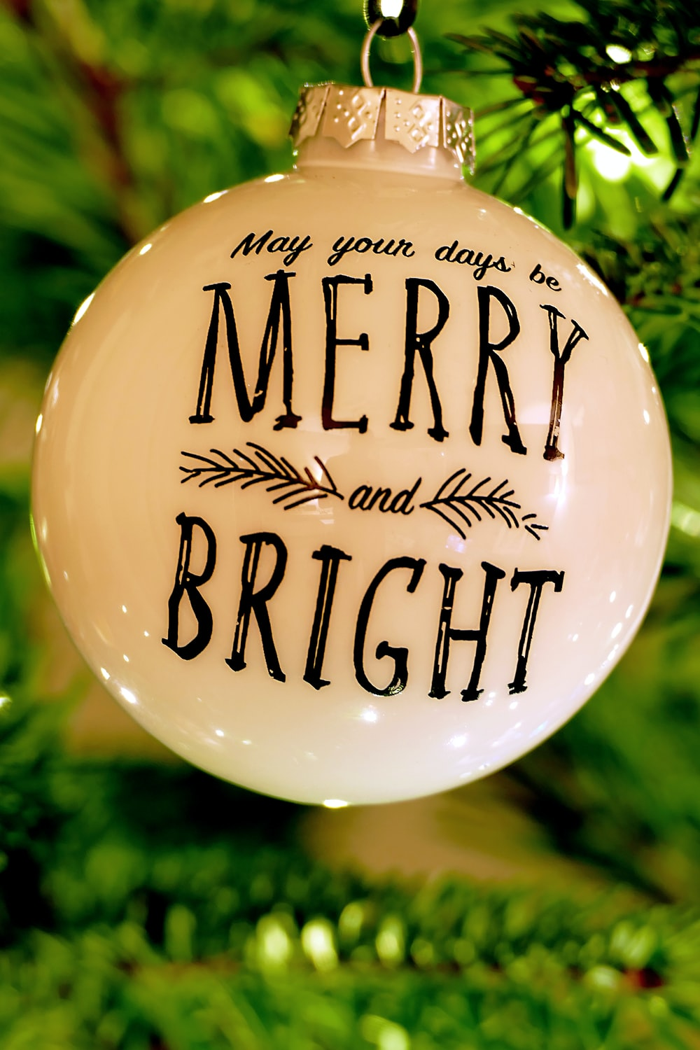 white and black Merry Bright Christmas bauble