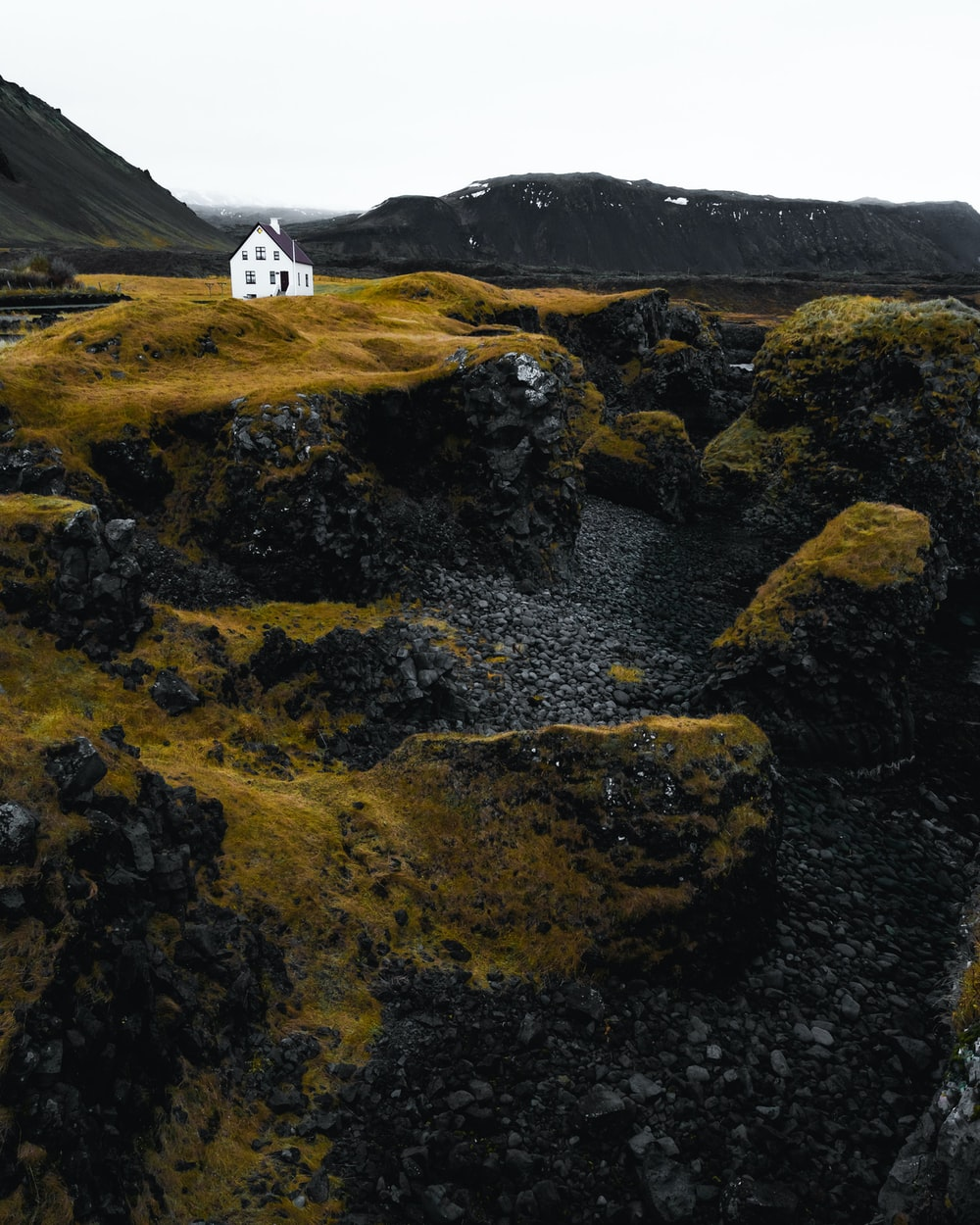 white house on cliff
