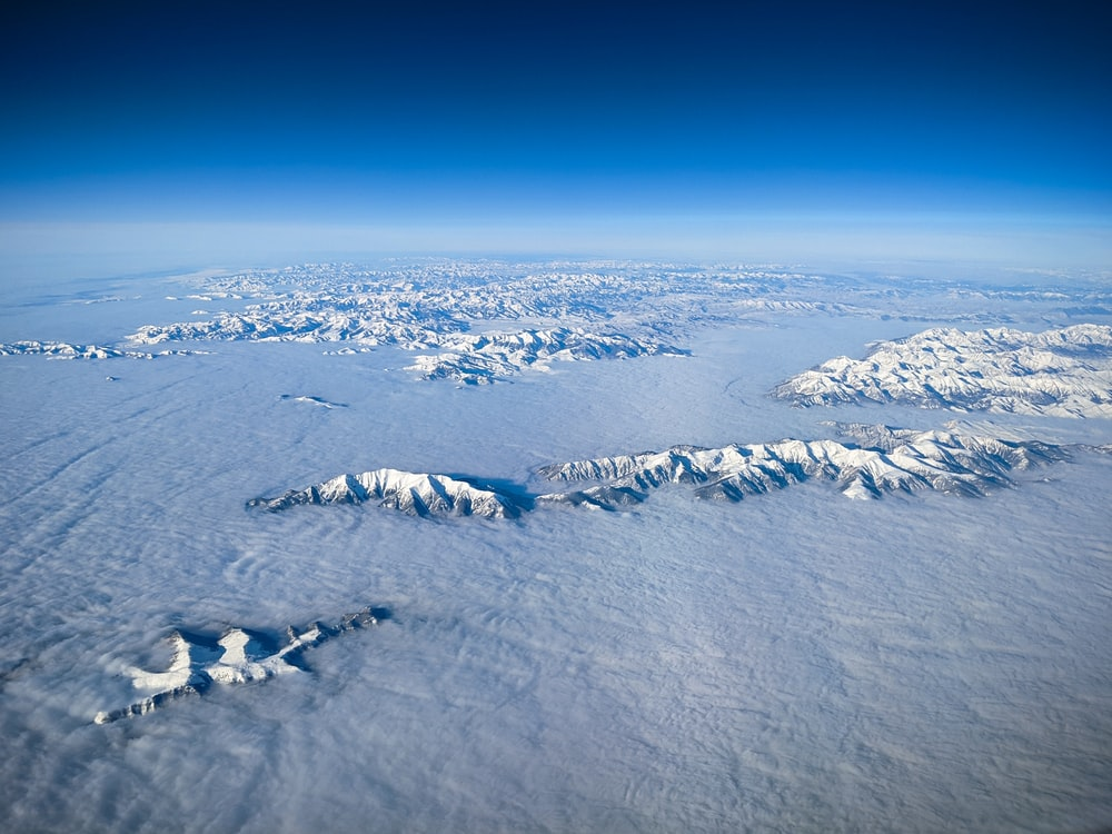 top view of snow mountains
