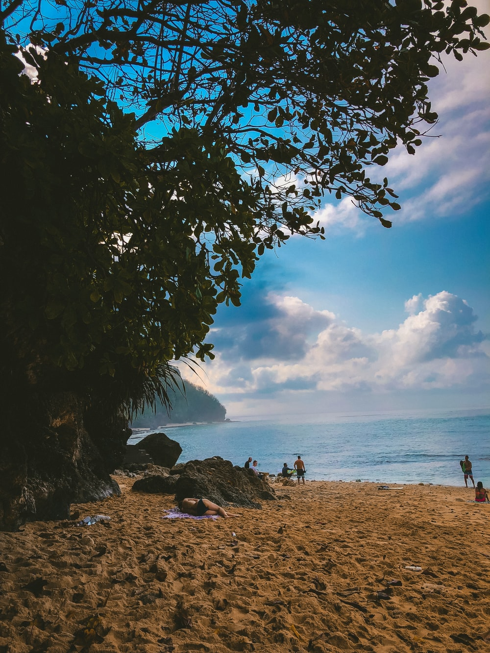 people on shore under blue cloudy sky
