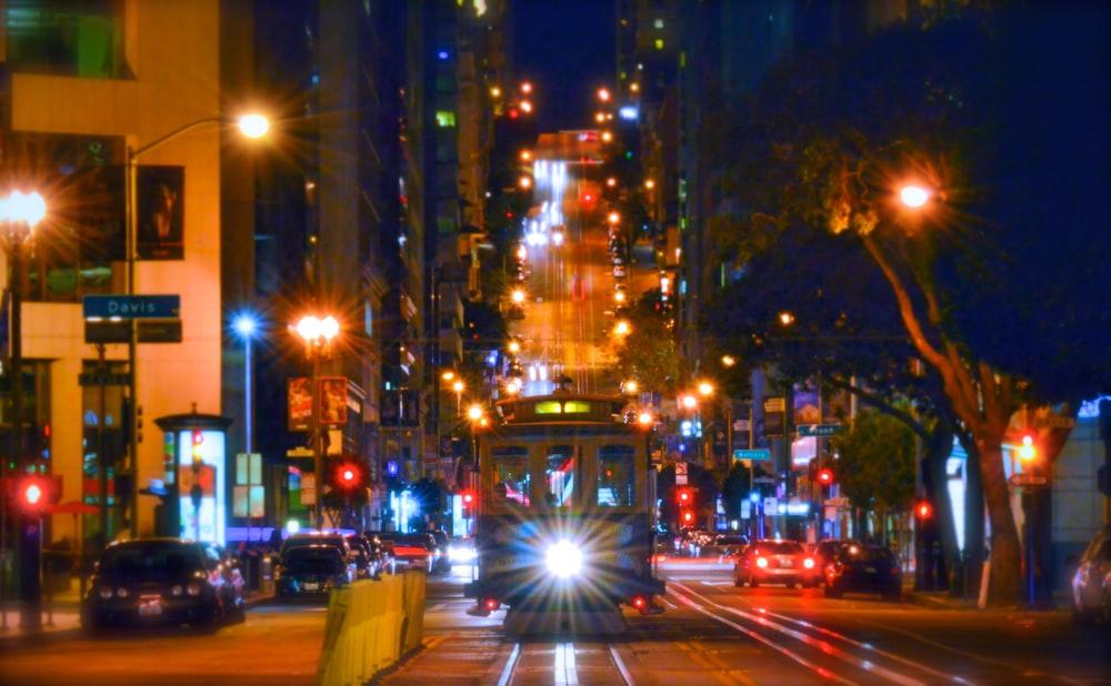 tram during nighttime