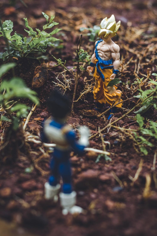 Goku and Vegetta action figures on soil beside plants
