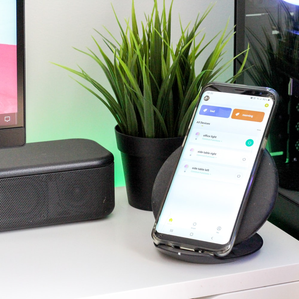 smartphone on wireless charger