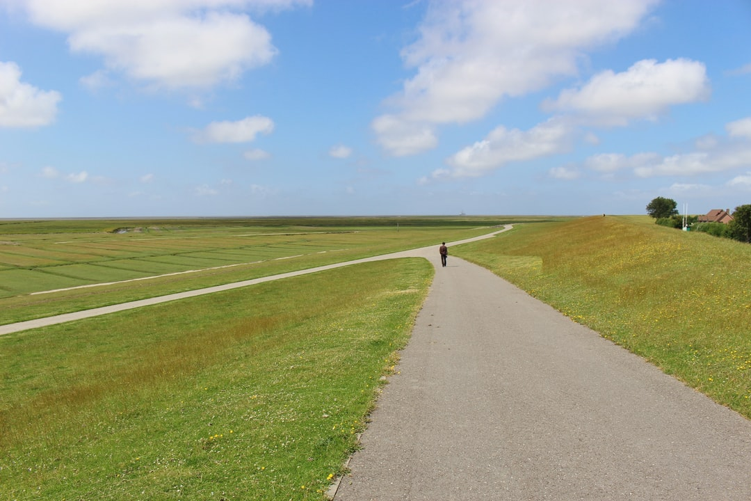 Vast, open landscape in the Schleswig-Holstein National Park Wattenmeer. A man walks along a dirt road. Northern Germany, Europe.