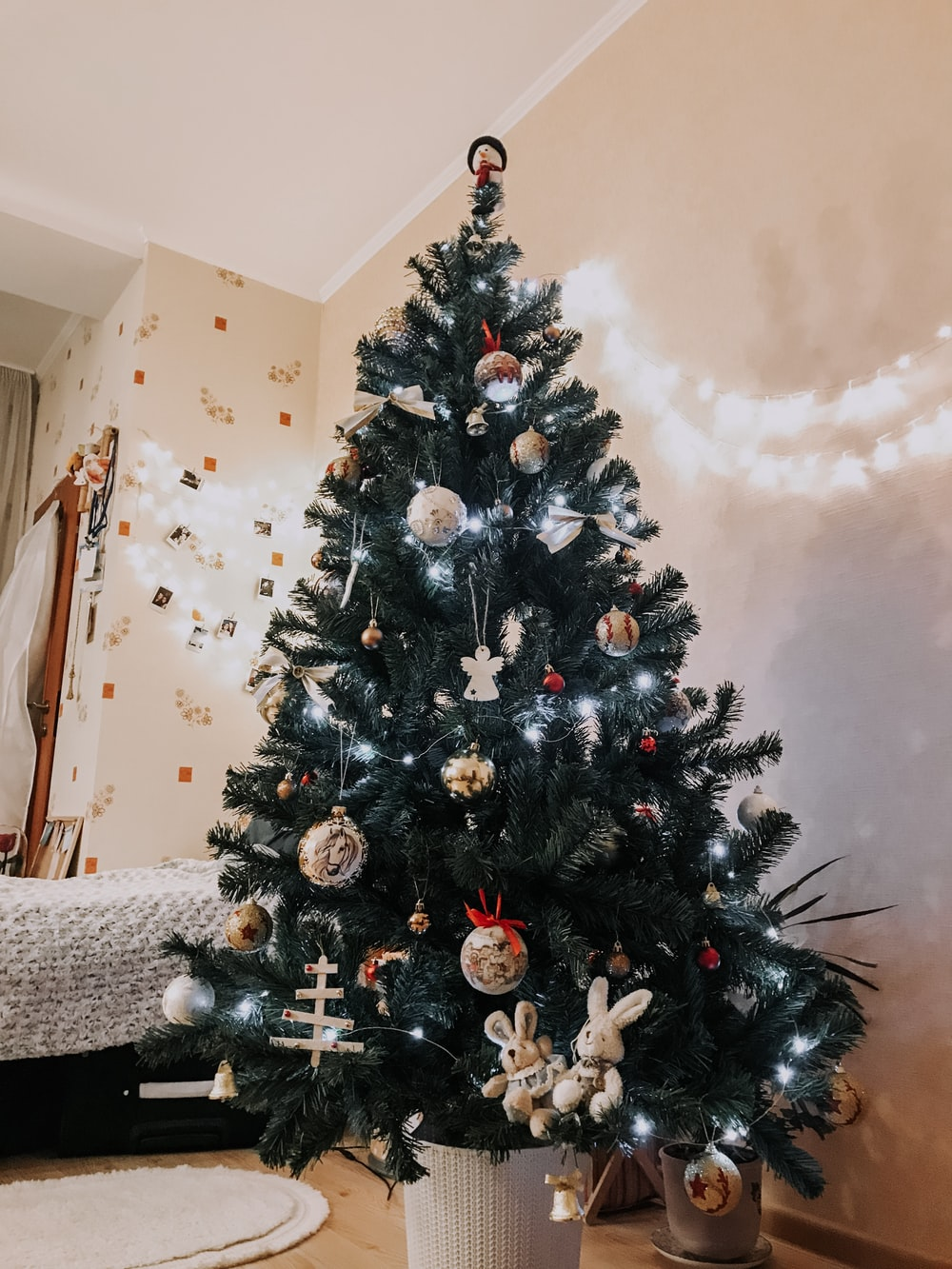 green Christmas tree with decorations