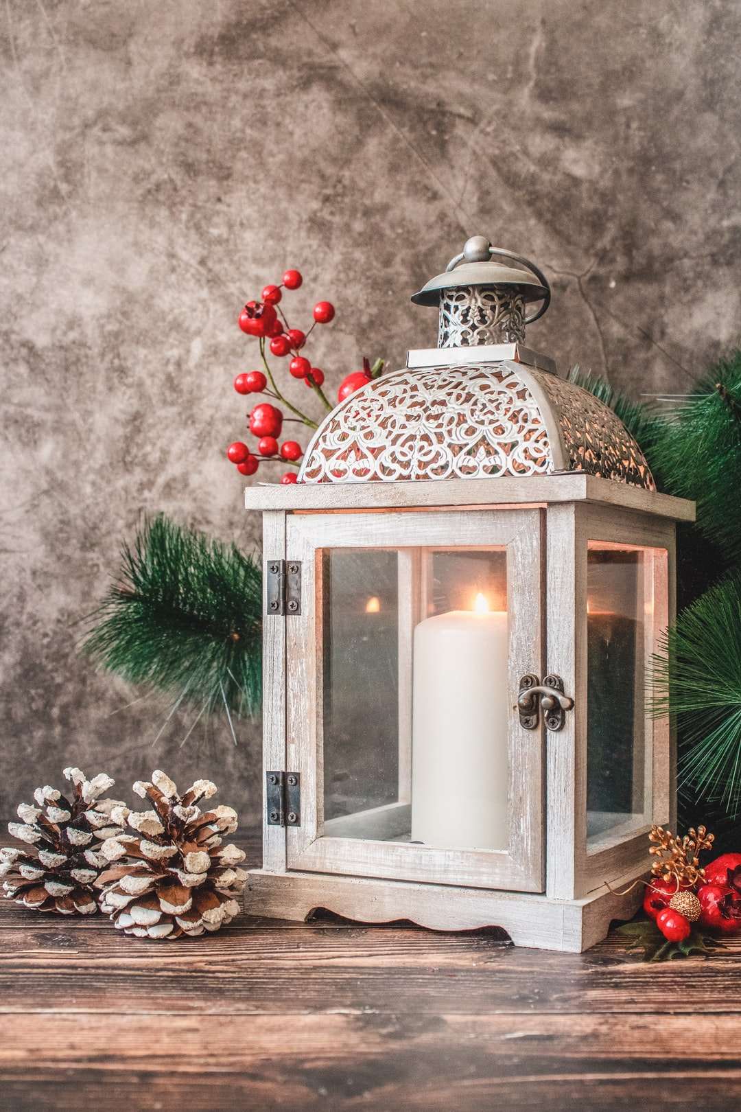 Christmas time decoration with candle