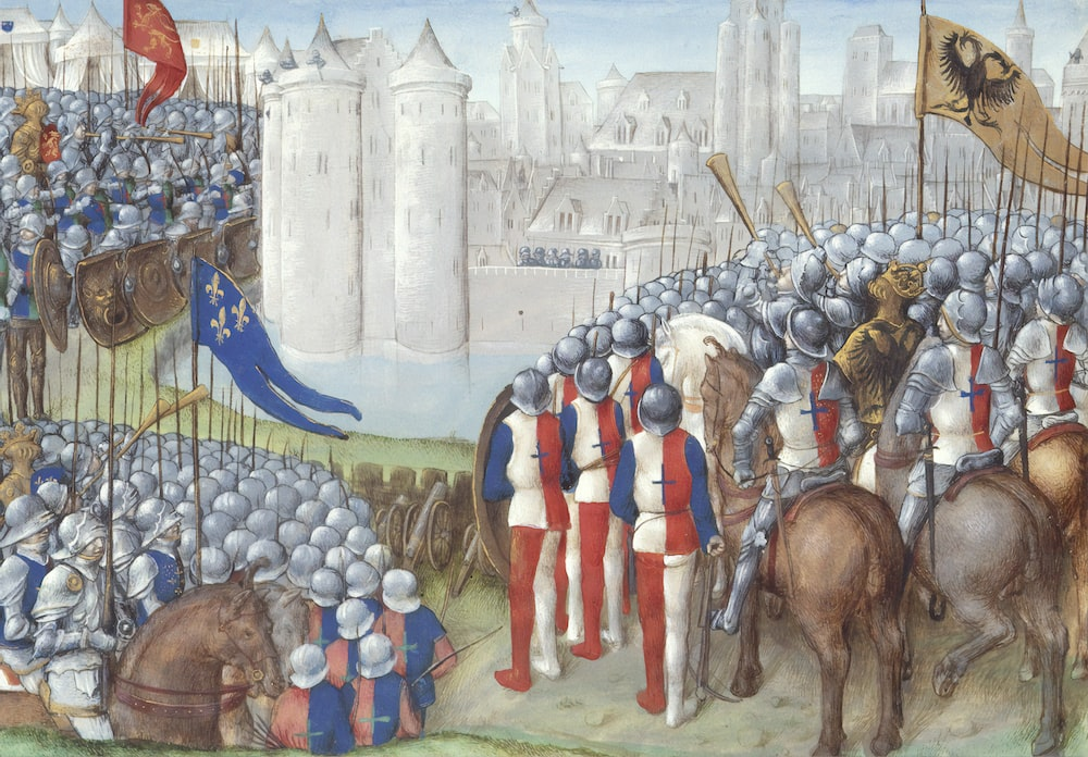 soldiers beside castle painting