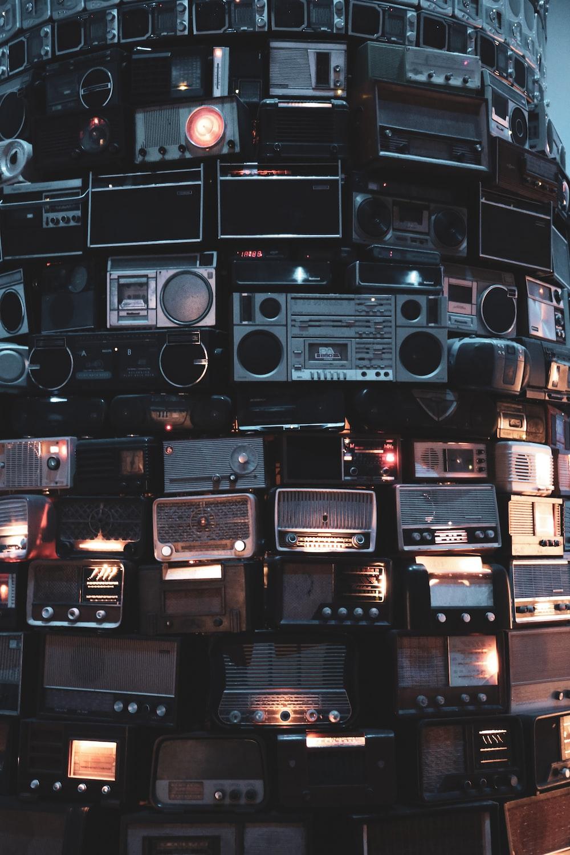black and gray boombox and transistor radio lot
