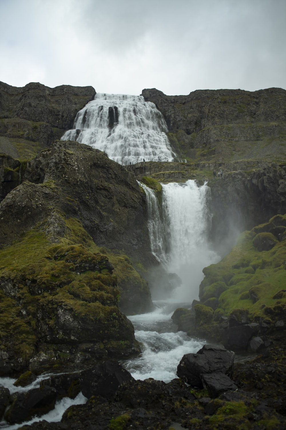 Dynjandi waterfall in Iceland under white and gray sky