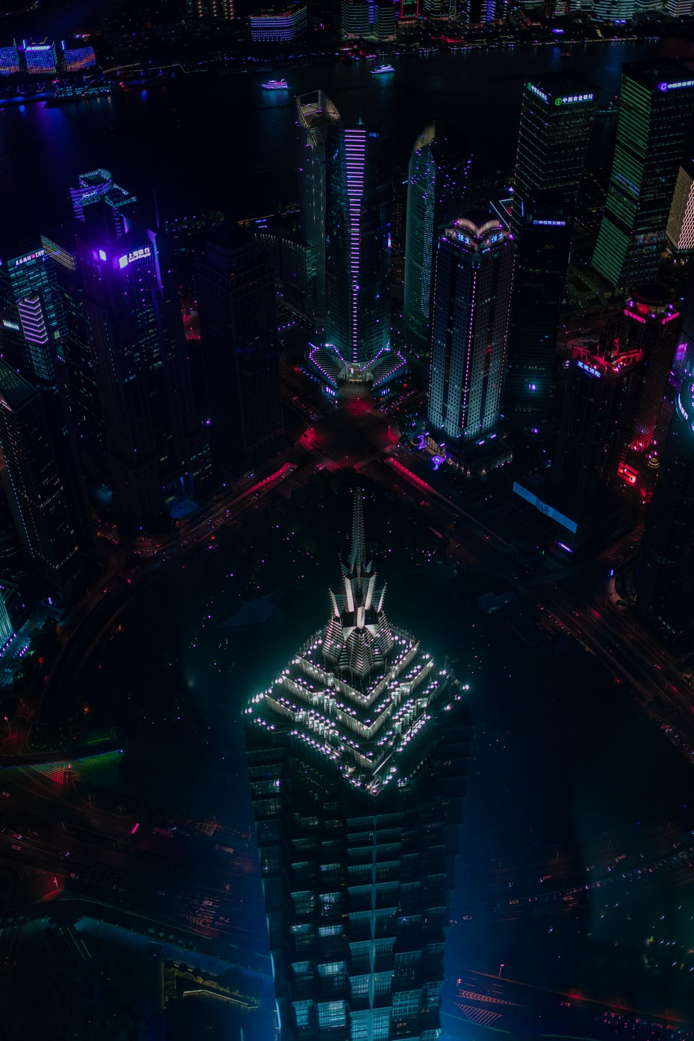 aerial city building scenery during nighttime