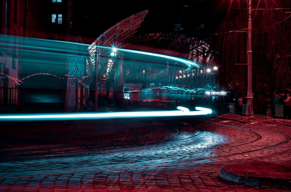 long-exposure photograph of tram line