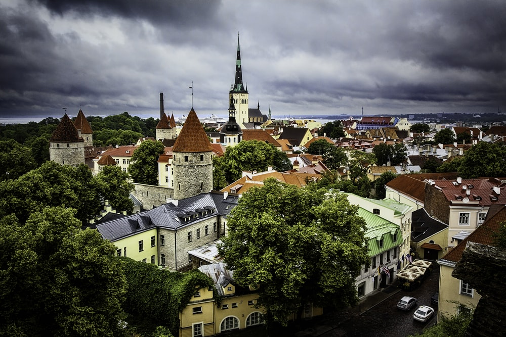 aerial photography of Tallin houses in Estonia during daytime