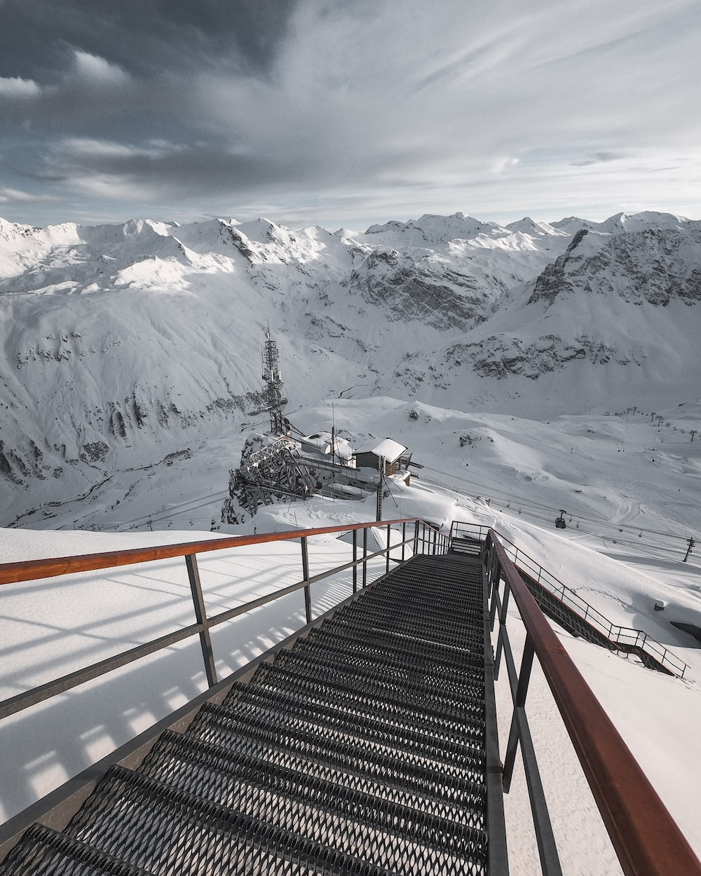 black and red stairs on mountain