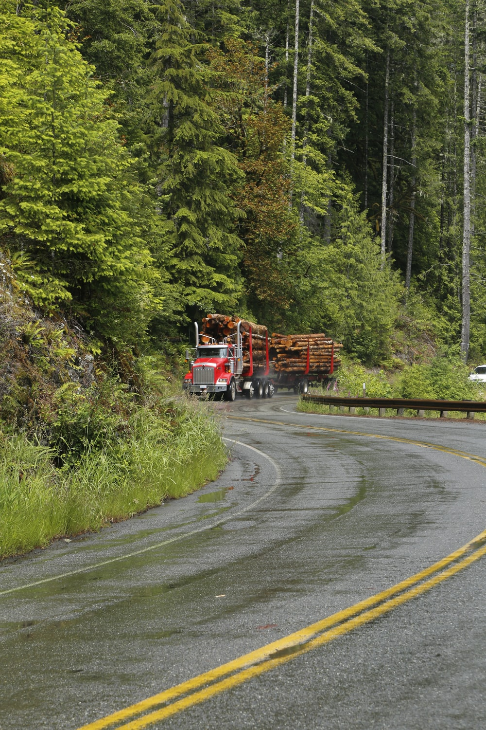 red truck carrying logs