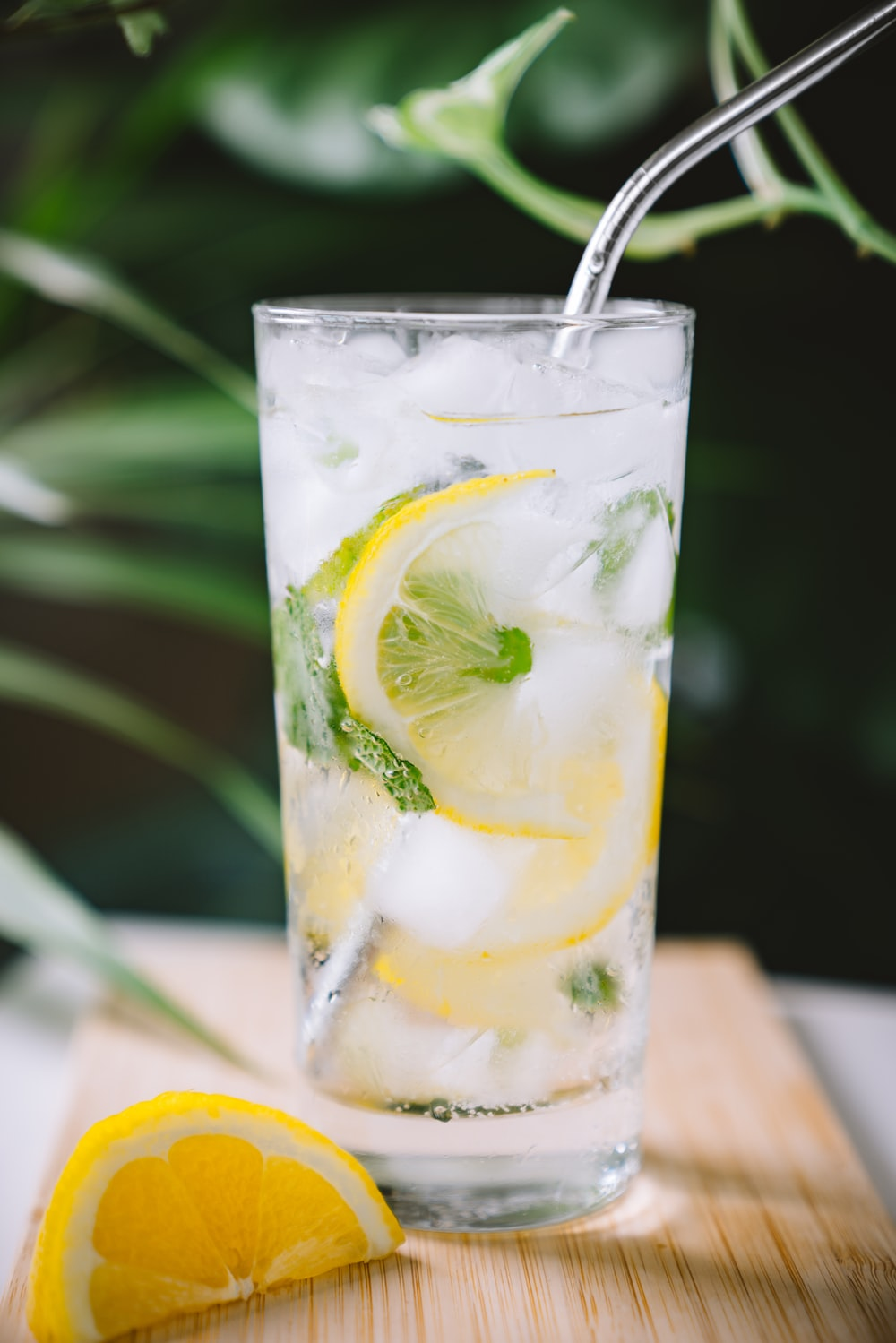 clear drinking glass filled with lemon