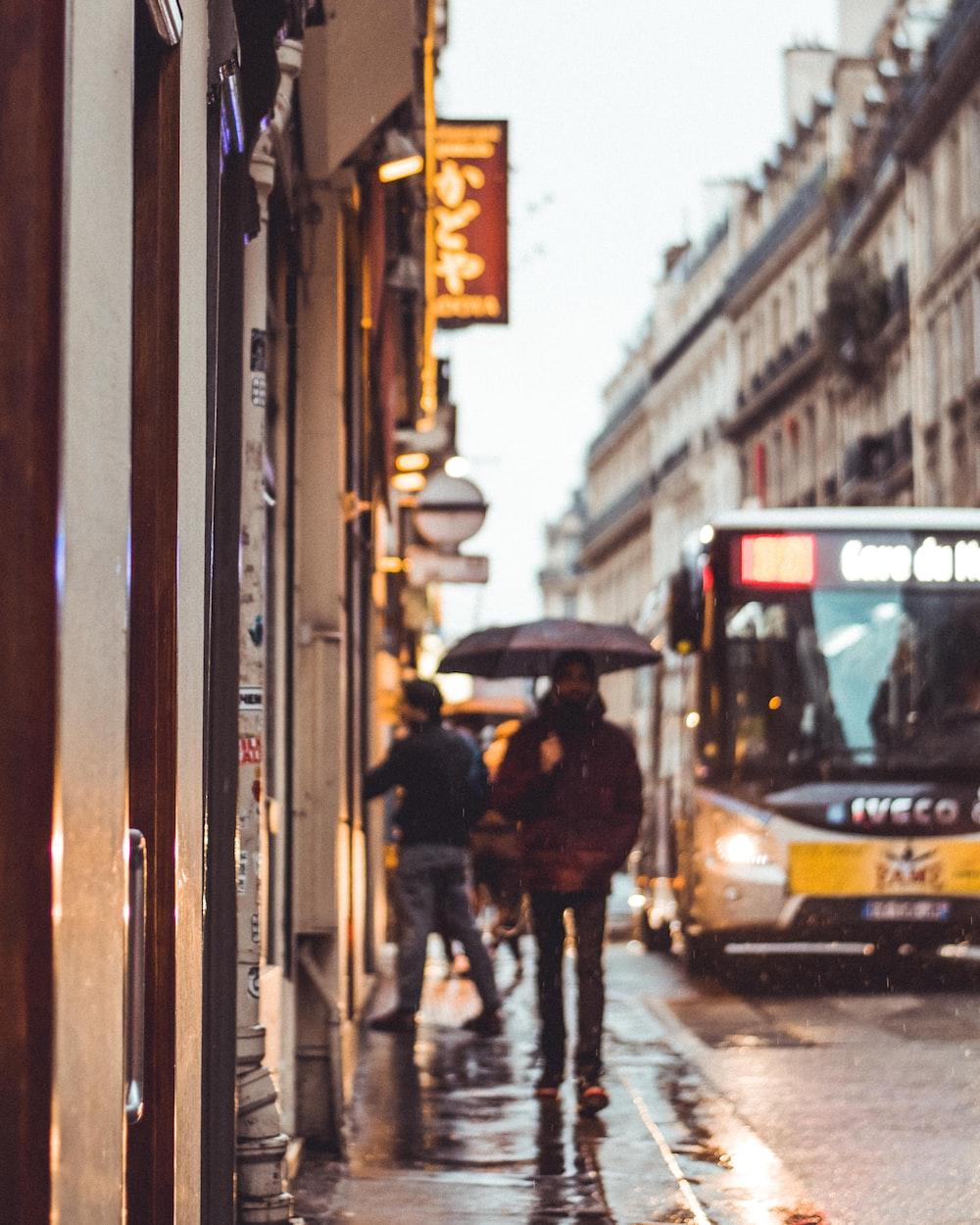 person walking holding umbrella during daytime