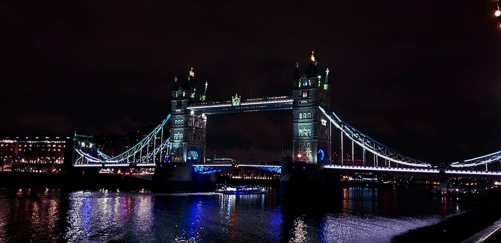 lighted tower bridge
