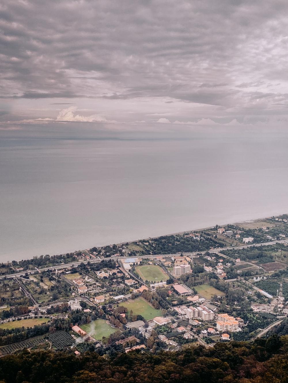 aerial photo of cityscape near sea