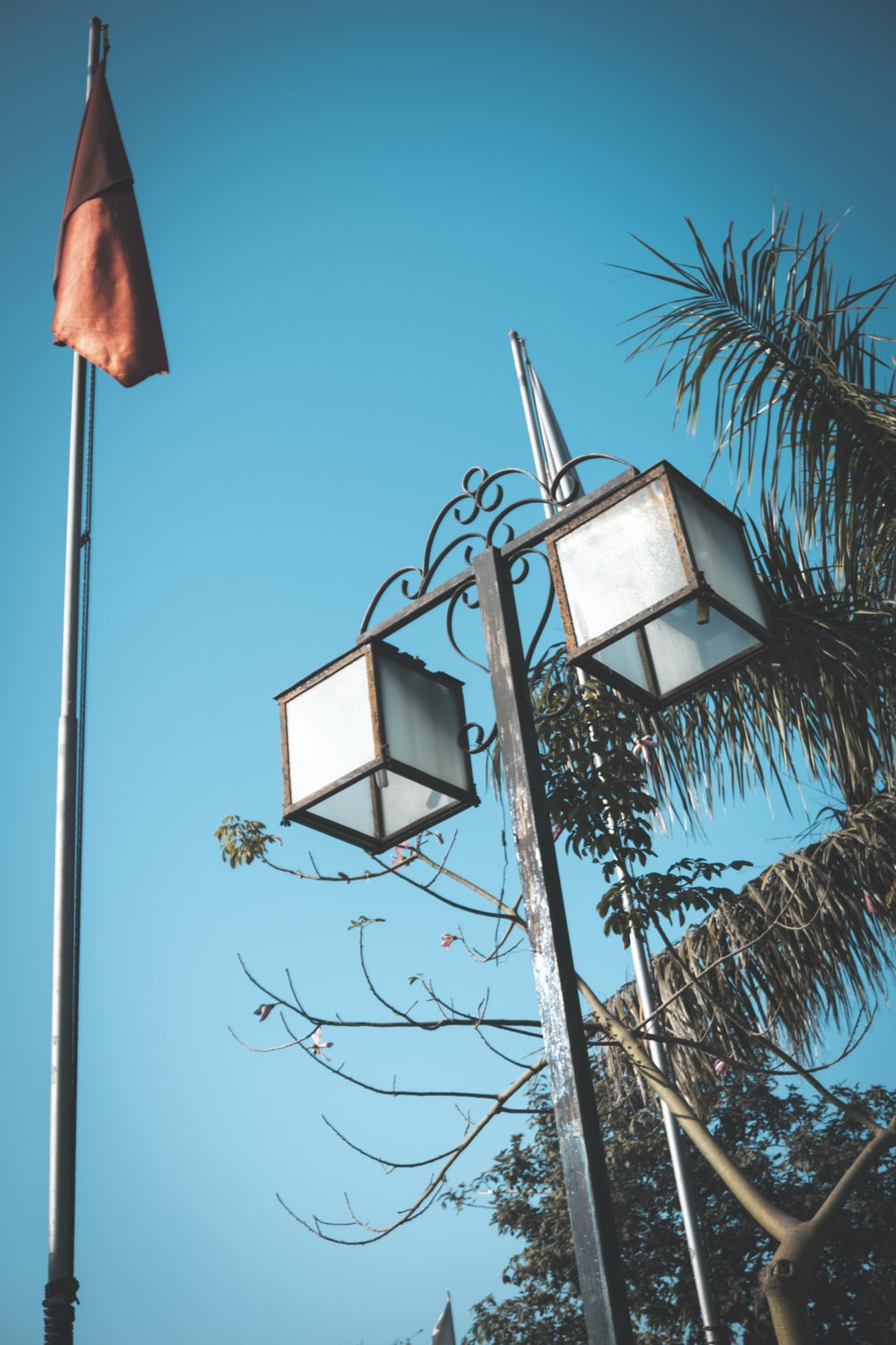 white and black street lamp post