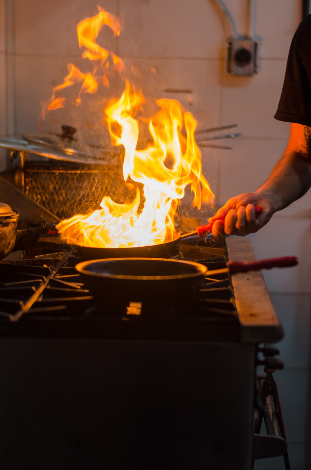 fire on pan
