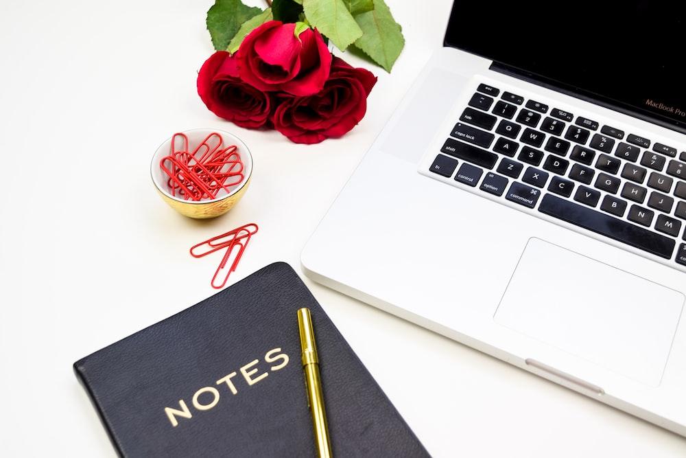 notebook near MacBook