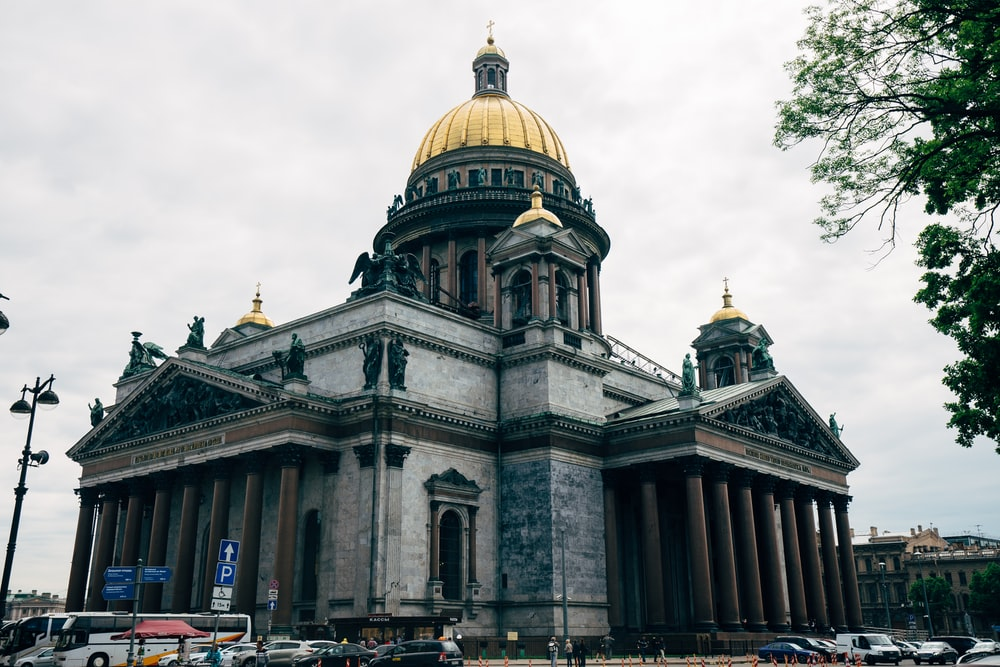 Saint Isaac's Cathedral in Saint Petersburg, Russia under white sky