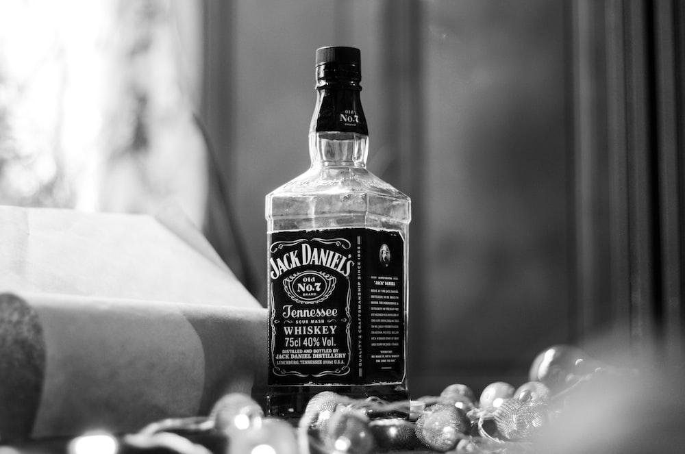 Jack Daniel's Tennessee whisky bottle near window