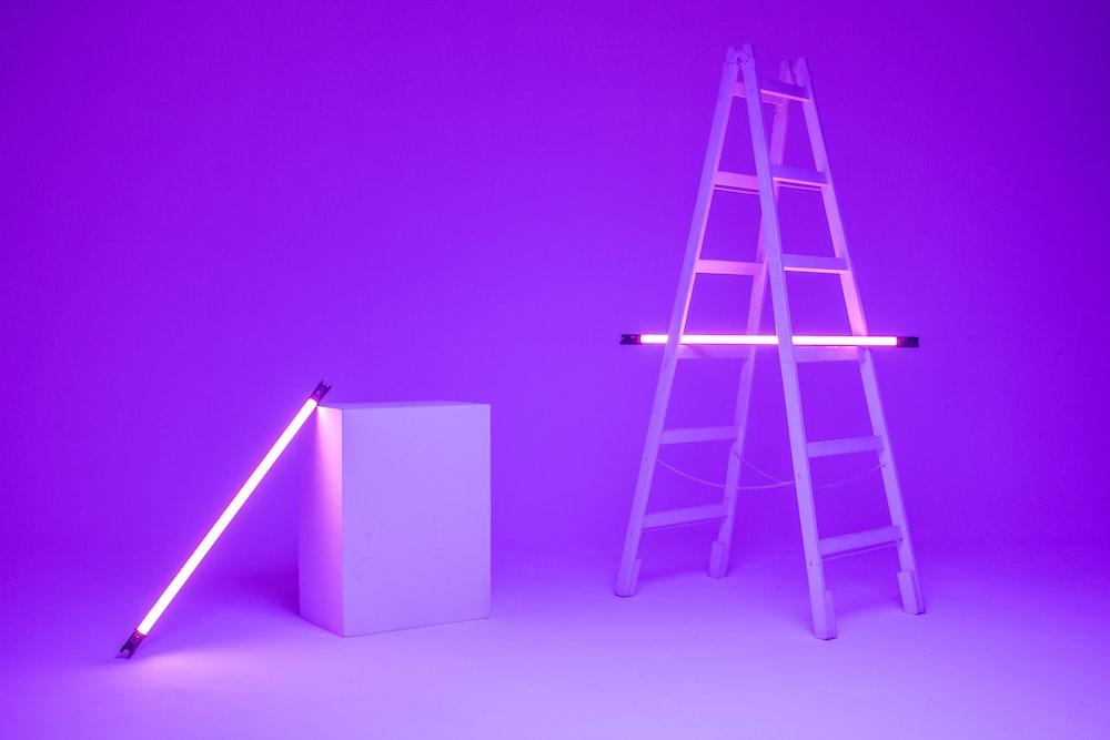 fluorescent lamp on ladder