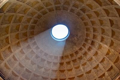 Marcus Agrippa's Pantheon skylight detail. Rome, Italy. 2018.