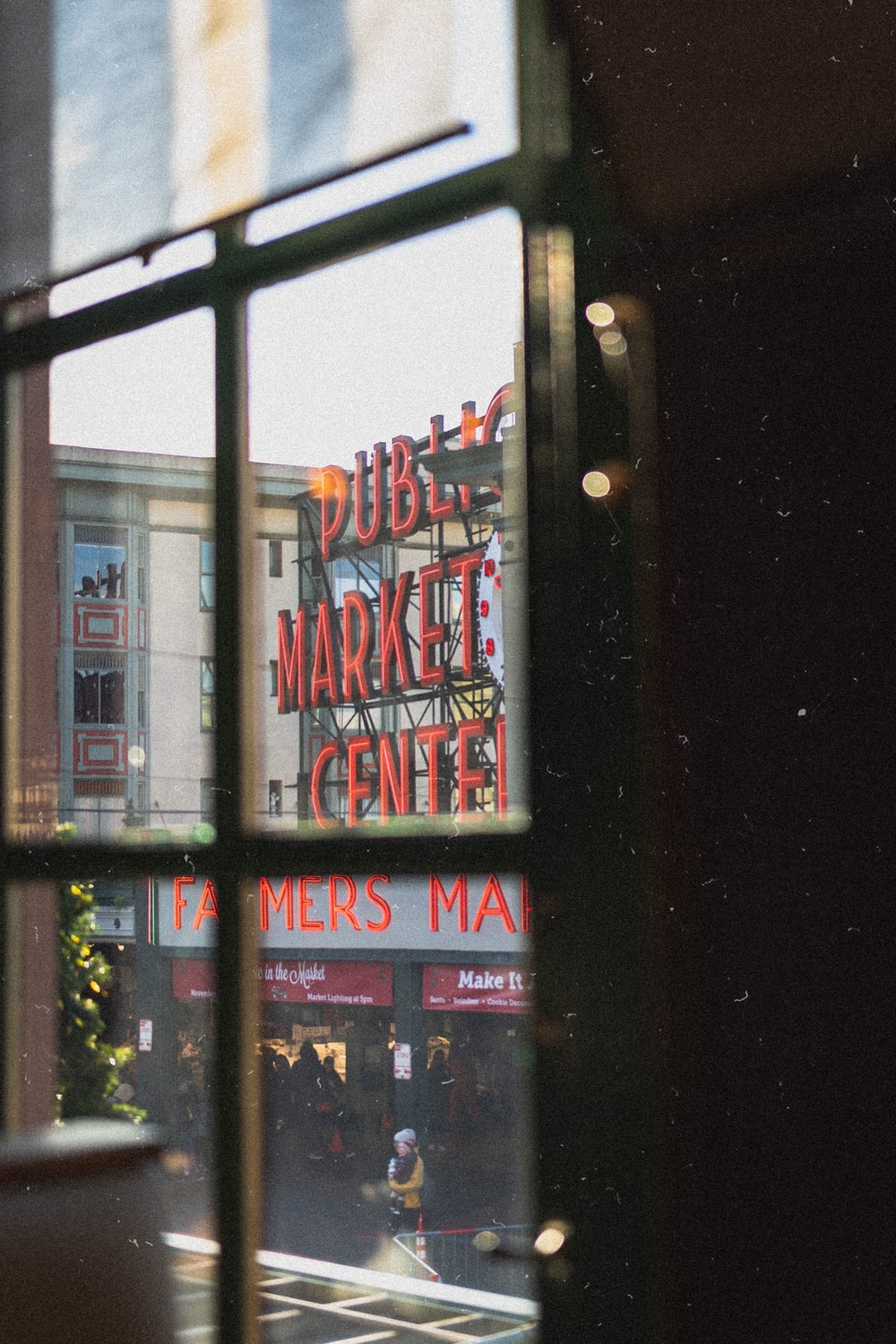 red public market center signage