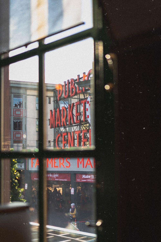 red public market center signage