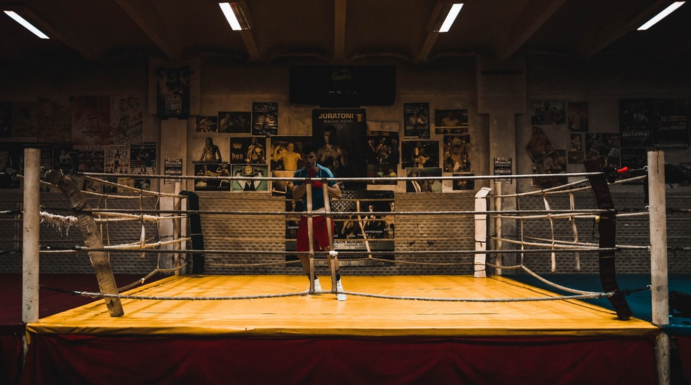 brown and gray boxing stage